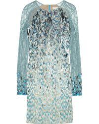 Matthew Williamson Sequined Jacquard Dress blue - Lyst