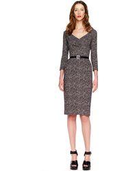 Michael Kors Tweed Herringbone Printed Cady Dress - Lyst