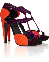 Pierre Hardy Twotone Suede and Velvet Sandals - Lyst