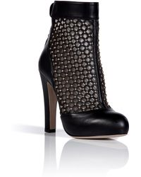Valentino Black Studded Ankle Boots - Lyst