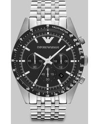 Emporio Armani Brushed Stainless Steel Chronograph Watch silver - Lyst