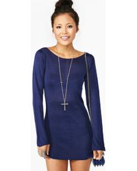 Nasty Gal Tara Knit Dress blue - Lyst