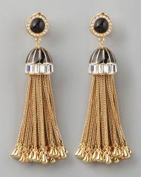 Rachel Zoe Rhinestone Tassel Drop Earrings - Lyst