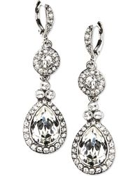Givenchy Silver-Tone Crystal Drop Earrings silver - Lyst