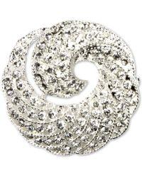 Jones New York Silver-Tone Crystal Swirl Box Pin - Lyst