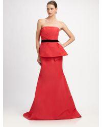Carolina Herrera Strapless Silk Faille Gown - Lyst