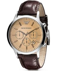 Emporio Armani Leather Chronograph Watch brown - Lyst