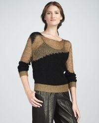 Alice + Olivia Shimmery Twotone Sweater - Lyst