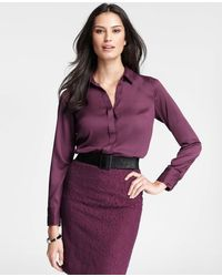 Ann Taylor Petite Covered Placket Long Sleeve Shirt - Lyst