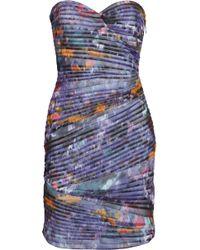 BCBGMAXAZRIA Kameron Pleated Printed Mesh Dress - Lyst