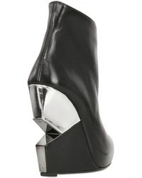 Charline De Luca 120mm Geometric Leather Wedge Boots black - Lyst