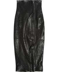 Haider Ackermann Highwaisted Ruffled Leather Pencil Skirt - Lyst