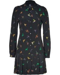 McQ by Alexander McQueen Black Hummingbird Print Silk Shirt Dress - Lyst