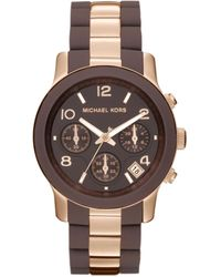 Michael Kors Womens Chronograph Runway Brown Silicone and Rose Gold Tone Stainless Steel Bracelet 38mm - Lyst