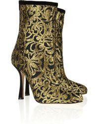 Oscar de la Renta Ella Suedetrimmed Brocade Ankle Boots - Lyst
