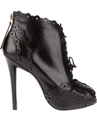Roger Vivier Opentoe Boots in Brushed Leather with Micro Perforated Embellishment black - Lyst