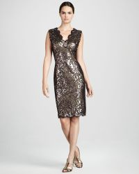 Tadashi Shoji Sequined Lace Cocktail Dress gold - Lyst