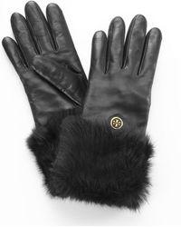 Tory Burch - Fur Button Gloves - Lyst