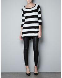 Zara Striped Moss Stitch Sweater - Lyst