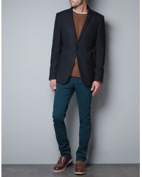 Zara Structured Blazer with Crest and Elbow Patches - Lyst