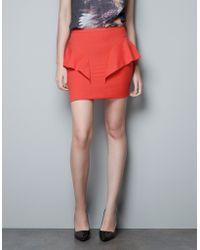 Zara Peplum Skirt - Lyst