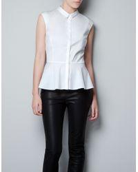 Zara Poplin Shirt with Peplum Frill white - Lyst