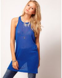 ASOS Collection  Loose Knit Sleeveless Tunic blue - Lyst