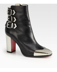 Christian Louboutin Chelita Leather Metal Wingtip Ankle Boots - Lyst