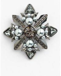 Givenchy Femme Glass Pearl Crystal Brooch - Lyst