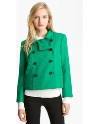 Milly Crop Wool Jacket - Lyst