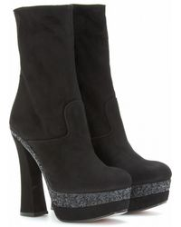 Miu Miu Suede Boots With Glitter Trimmed Platform - Lyst
