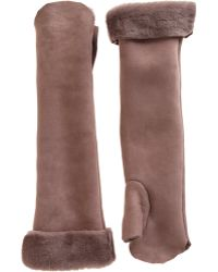 Nina Ricci - Shearling Lined Long Fingerless Gloves - Lyst
