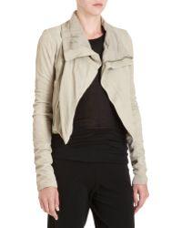 Rick Owens Cutaway Leather Jacket - Lyst