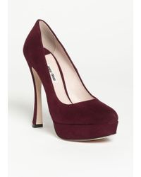 Miu Miu Velvet Bow Platform Pumps In Red Bordeaux Lyst