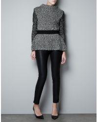 Zara Twist Knit Frilled Jumper black - Lyst