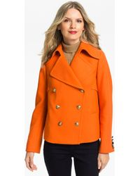Anne Klein Double Breasted Peacoat - Lyst