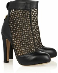 Valentino Studded Leather and Mesh Ankle Boots - Lyst