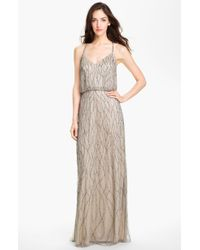 Adrianna Papell Beaded Mesh Blouson Gown - Lyst