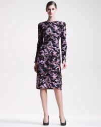Bottega Veneta Printed Crepe Longsleeve Dress - Lyst