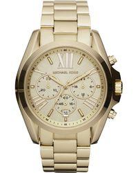Michael Kors Women'S Chronograph Bradshaw Gold-Tone Stainless Steel Bracelet Watch 43Mm Mk5605 - Lyst