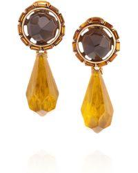 Oscar de la Renta 24karat Goldplated Resin and Crystal Clip Earrings - Lyst