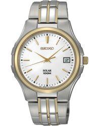Seiko Solar Two Tone Stainless Steel Bracelet Watch  - Lyst