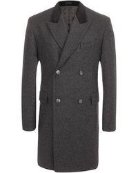 Alexander McQueen Velvet Collar Double Breasted Coat gray - Lyst