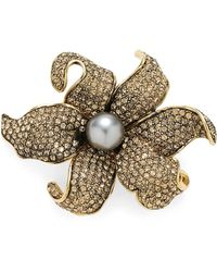 Brooks Brothers - Austrian Crystal Pave Lily Brooch - Lyst