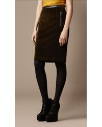 Burberry Brit - Leather Trim Corduroy Pencil Skirt - Lyst