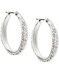 Jones New York - Worn Silver Tone Pave Crystal Oval Hoop Earrings - Lyst