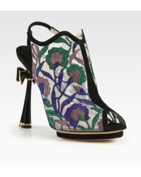 Nicholas Kirkwood Embroidered Open Back Bow Suede Ankle Boots - Lyst