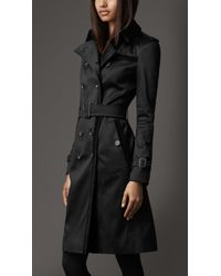 Burberry Long Cotton Blend Trench Coat - Lyst