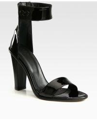 Tibi Barbara Patent Leather Heel Ankle Strap Sandals - Lyst