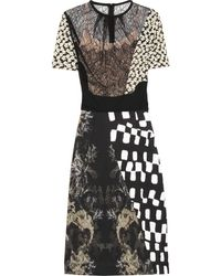 Preen By Thornton Bregazzi Morelle Lace and Printed Stretchjersey Dress black - Lyst